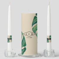 Khaki Tropical Watercolor Foliage Wedding Unity Candle Set