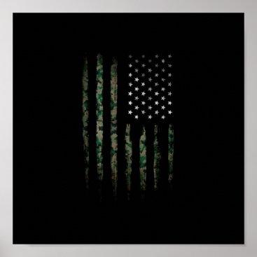 Khaki USA flag Poster