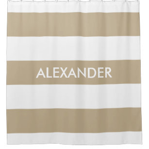 Khaki White Bold Horiz Stripe #3 Monogram Shower Curtain