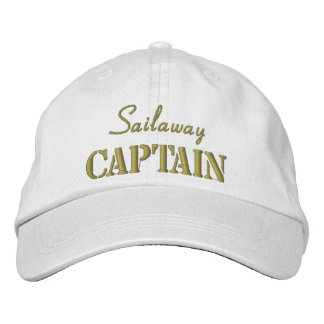 Khaki White Nautical Captain Custom Baseball Cap