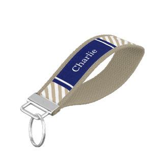 Khaki White Preppy Diag Stripe Name Monogram Wrist Keychain
