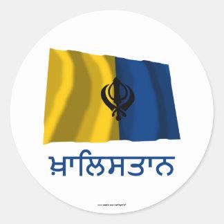 Khalistan Waving Flag with Name in Punjabi Classic Round Sticker