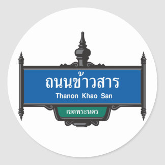 Khao San Road Sign, Bangkok, Thailand Classic Round Sticker