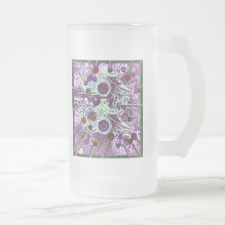 Khartoum Flying Saucers Frosted Glass Beer Mug