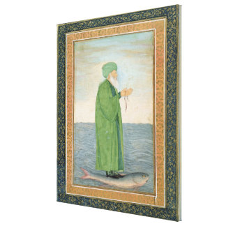 Khawa Khizir Khan riding on a fish, from the Small Canvas Prints