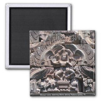 Khmer ruins, dancing Shiva above Vishnu Lintel, Th Refrigerator Magnet