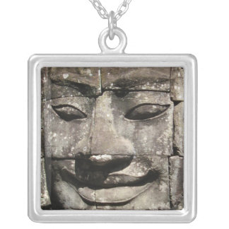 Khmer Stone Face ... Bayon Temple, Cambodia Silver Plated Necklace