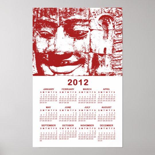 Khmer Stone Face Red 2012 Calendar ... Cambodia Poster