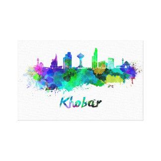 Khobar skyline in watercolor canvas print