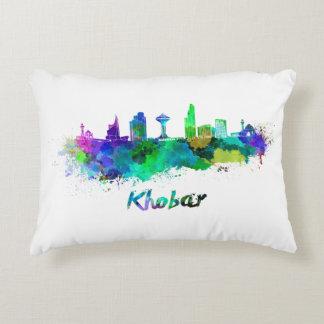 Khobar skyline in watercolor decorative pillow