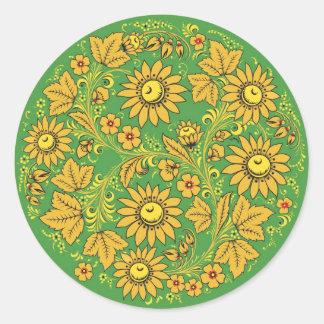 Khokhloma (Hohloma) Russian Art  Workshops Classic Round Sticker