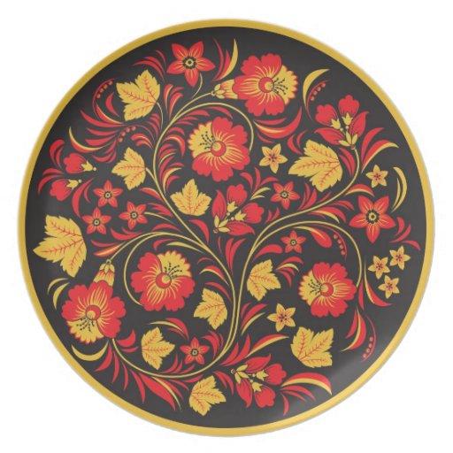 Khokhloma (Hohloma) Russian Art Workshops Plates