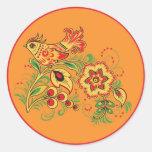 Khokhloma (Hohloma) Russian Art  Workshops Round Stickers