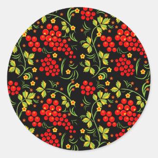 Khokhloma pattern classic round sticker