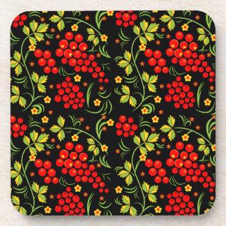Khokhloma pattern drink coasters