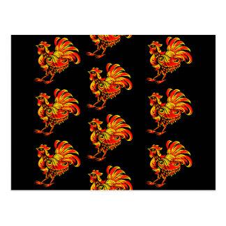 Khokhloma rooster postcard