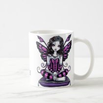 khristyn, tiara, gothic, princess, pink, hot, stripes, big, eyed, butterfly, fairy, faery, fae, faerie, pixie, fantasy, art, myka, jelina, Mug with custom graphic design