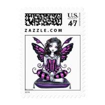 khristyn, tiara, gothic, princess, pink, hot, stripes, big, eyed, butterfly, fairy, faery, fae, faerie, pixie, fantasy, art, myka, jelina, faeries, Stamp with custom graphic design