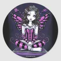 khristyn, tiara, princess, pink, hot, stripes, big, eyed, butterfly, fairy, faery, fae, faerie, pixie, fantasy, art, myka, jelina, faeries, Sticker with custom graphic design