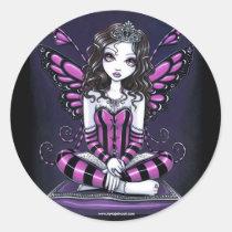 khristyn, tiara, princess, pink, hot, stripes, big, eyed, butterfly, fairy, faery, fae, faerie, pixie, fantasy, art, myka, jelina, faeries, Sticker with custom graphic design