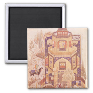Khusrau in front of the Palace of Shirin 2 Inch Square Magnet