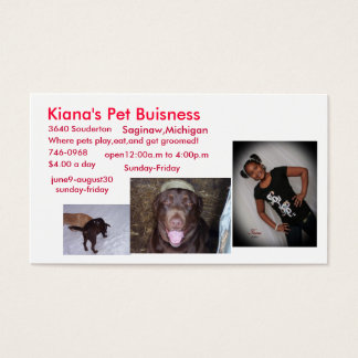 Kiana's Pet Buisness Business Card