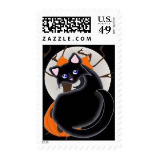 Kiara Toon Kitty Black Cat Moon & Tree Postage Stamps