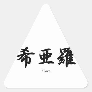 Kiara tradujo a símbolos japoneses del kanji pegatinas de triangulo