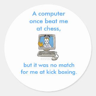 Kick Boxing Computer Classic Round Sticker