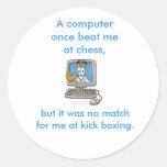 Kick Boxing Computer Round Stickers