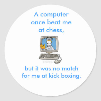 Kick Boxing Computer Round Stickers