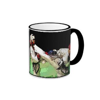 Kick Boxing, Martial Arts Ringer Coffee Mug