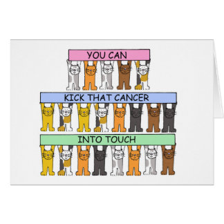 Kick cancer into touch cartoon cats. card