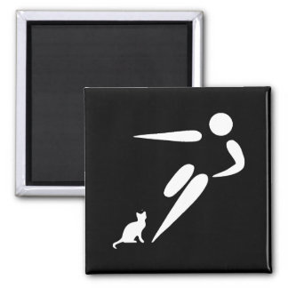 Kick Cat 2 Inch Square Magnet