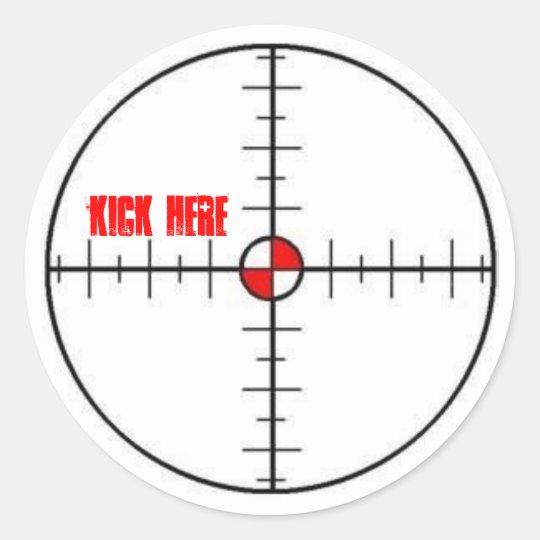 kick here classic round sticker