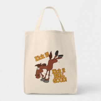 kick it real good funny kicking horse canvas bag