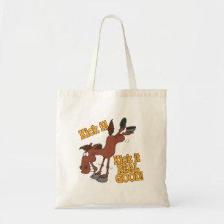kick it real good funny kicking horse canvas bags