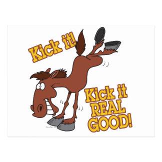 kick it real good funny kicking horse postcard