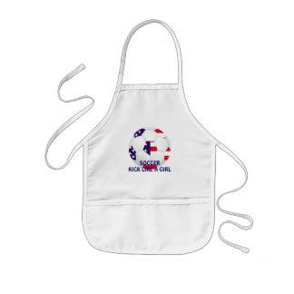 KICK LIKE A GIRL ~ American Flag Themed Soccer Kids' Apron