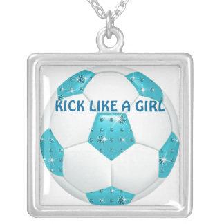KICK LIKE A GIRL ~ Diamond Gemstones Aqua Soccer B Square Pendant Necklace