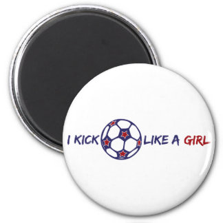 Kick Like A Girl (Soccer) 2 Inch Round Magnet