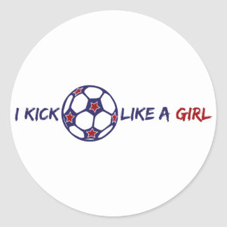 Kick Like A Girl (Soccer) Classic Round Sticker