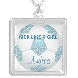 KICK LIKE A GIRL White Pearls on Aqua Soccer Ball Square Pendant Necklace