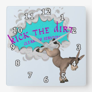 Kick the Dirt Square Wall Clock