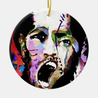Kick the man break the boy ceramic ornament