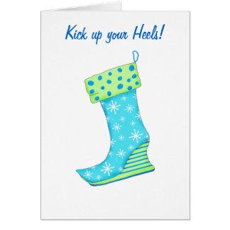 Kick up Heels Snowflake Boot Christmas Stocking Card