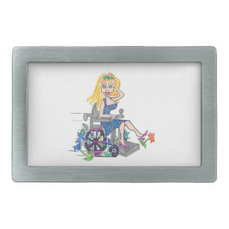Kick up some Flowers in a wheel-chair Belt Buckle
