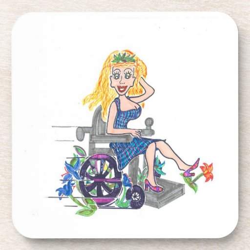 Kick up some Flowers in a wheel-chair Drink Coaster