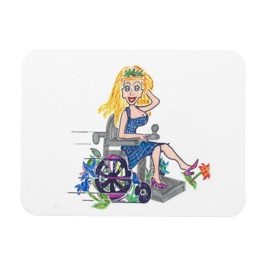 Kick up some Flowers in a wheel-chair Magnet