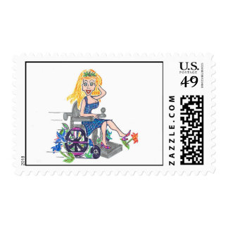 Kick up some Flowers in a wheel-chair Postage